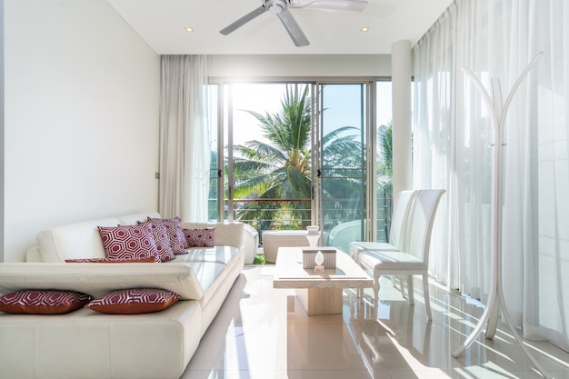 Luxury interior living room with white