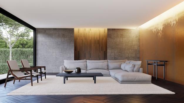 壁の装飾付きのリビングルームの豪華なインテリア。