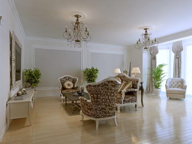 Роскошный интерьер богатой гостиной с модной классической мебелью, светлая комната с лепными стенами.