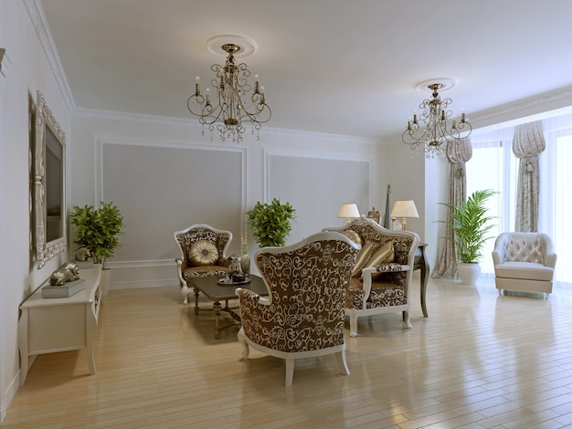 Luxury interior of rich lounge with fashionable classic furniture, bright room with molding walls