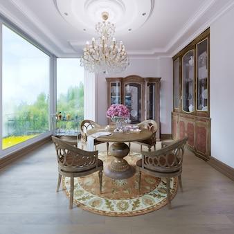 豪華なインテリアの白い壁と家具の茶色の椅子クラシックなダイニングルームスタイル、クラシックなシャンデリア。 3dレンダリング
