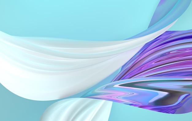 움직이는 고급스러운 무지개 빛깔의 새틴 실크 패브릭