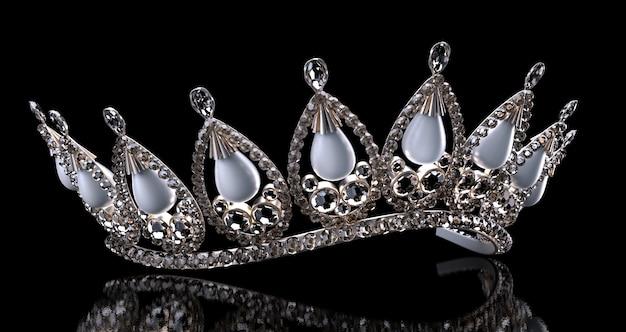 Luxury jewelry wedding diadem 3d illustration