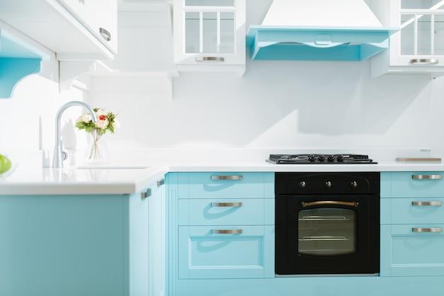 Роскошный интерьер кухни в бело-голубых тонах, никем. современная бытовая мебель, мойка со смесителем, вытяжка, встроенная плита и духовка, оформление места для приготовления пищи.