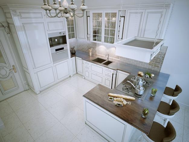 Роскошная г-образная кухня белого цвета с барной стойкой