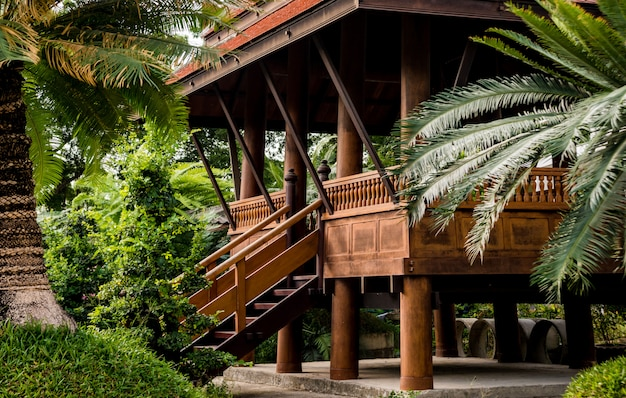 Роскошный ландшафтный дизайн тропического сада.