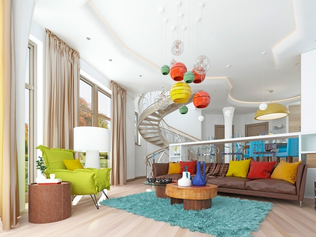 Luxury large living room in the style of kitsch with large leather