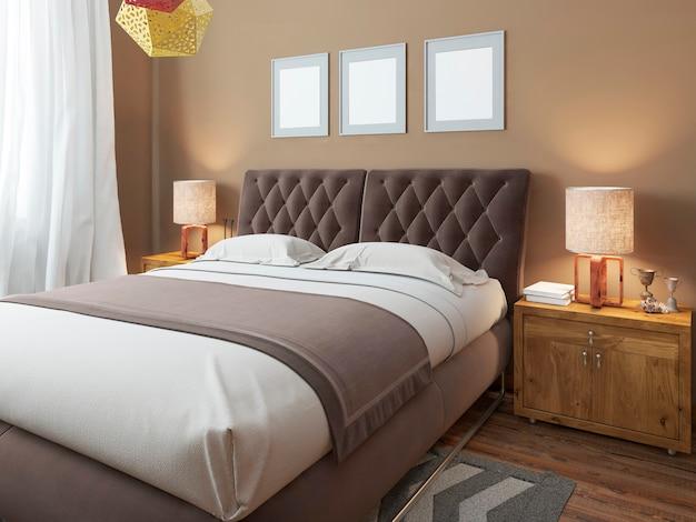 Роскошная большая современная двуспальная кровать в спальне в стиле лофт