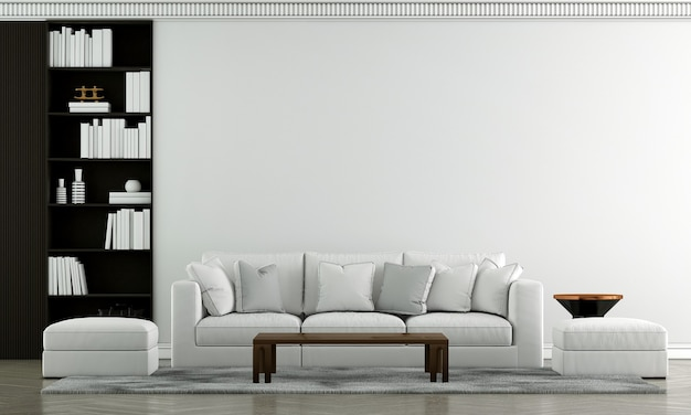 豪華なリビングルームのインテリアデザインと白いソファと青いパターンの壁の背景