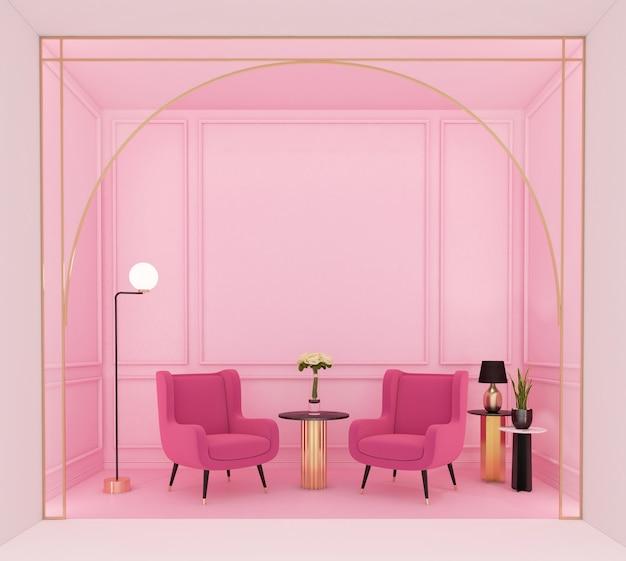 안락 의자와 플로어 램프 3d 렌더링이 있는 고급스러운 거실
