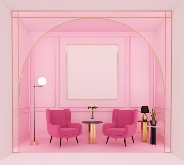 분홍색 벽과 액자 3d 렌더링이 있는 고급스러운 거실