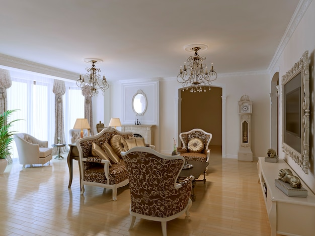 Luxury lobby for five stars hotel in neoclassic style