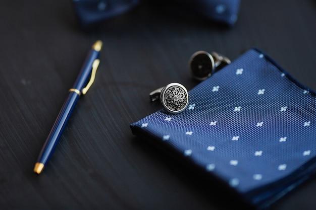 Luxury men's cufflinks with pen.