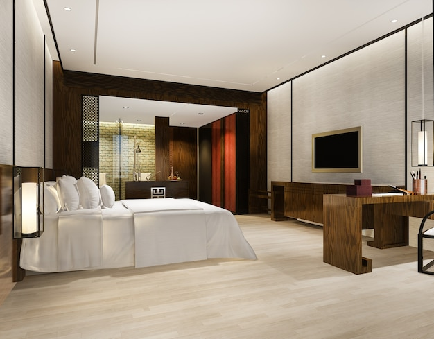 Luxury modern bedroom suite in hotel with asian style decor