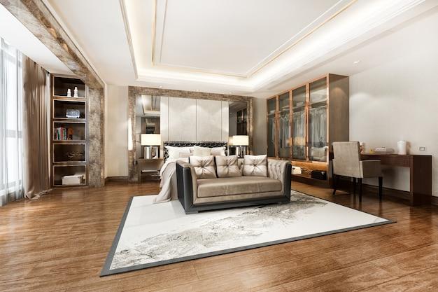 Роскошная современная спальня с телевизором со шкафом, гардеробной и рабочим столом