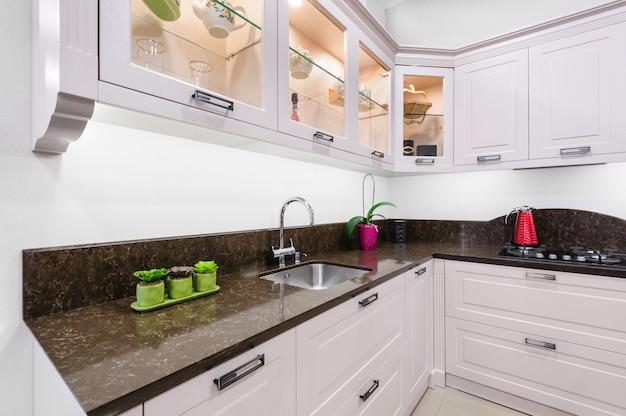 Luxury modern beige kitchen interior