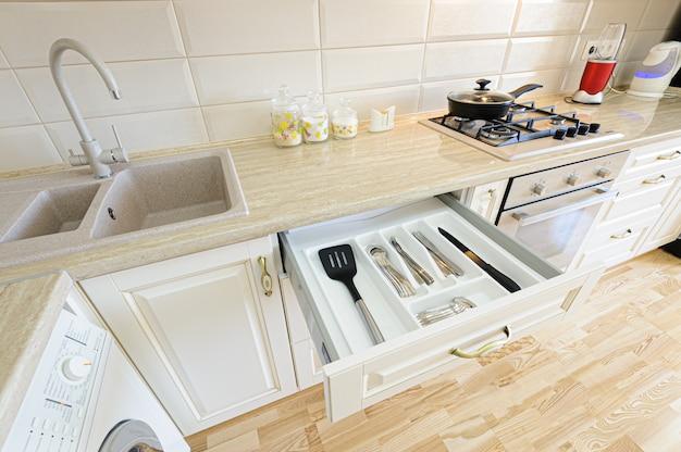 Luxury modern beige and white kitchen interior
