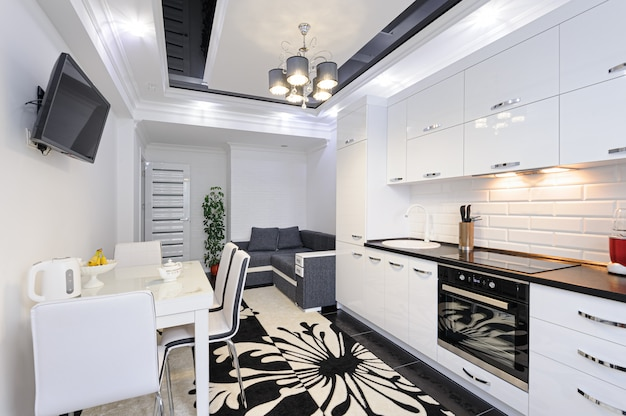 Luxury modern black and white kitchen interior
