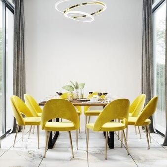 Роскошный современный интерьер столовой