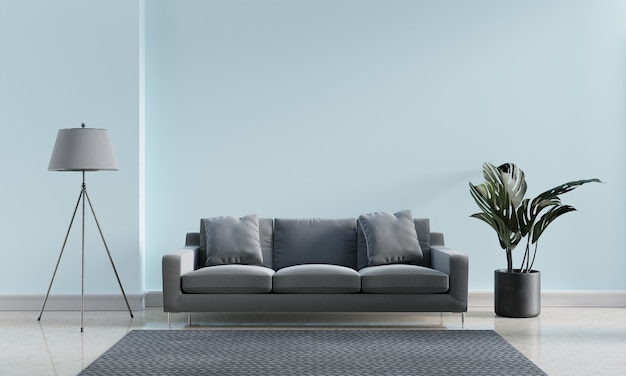 Luxury modern interior of blue pastel and gray tone living room home decor concept background