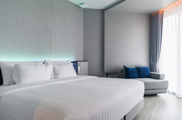 A luxury modern style bedroom : hotel room interior