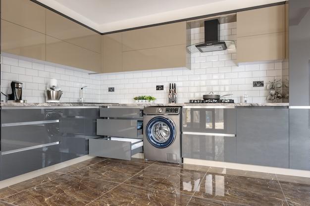 Luxury modern white, beige and grey kitchen interior