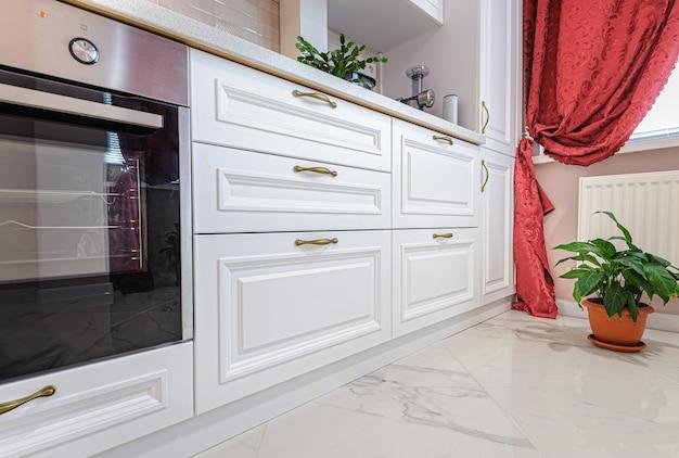 Luxury modern white kitchen interior