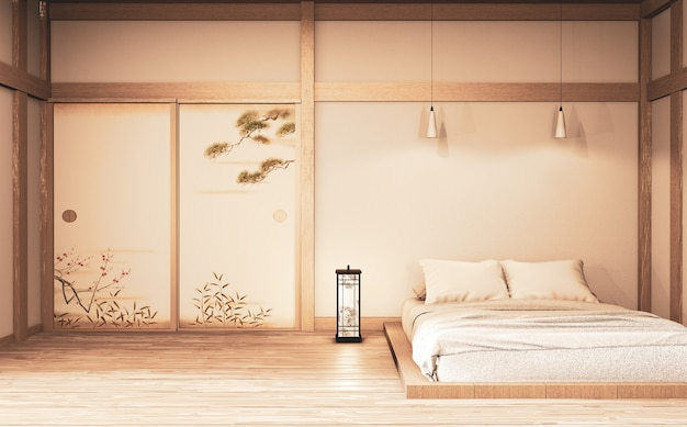 Luxury modern zen style bedroom mock up, designing the most beautiful. 3d rendering