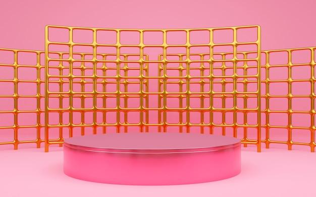 제품 프레젠테이션을 위한 1단계가 있는 럭셔리 핑크 기하학적 배경. 3d 렌더링.
