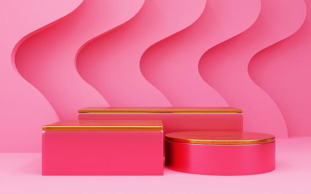 제품 프레젠테이션을 위한 3단계의 럭셔리 핑크 기하학적 배경. 3d 렌더링.
