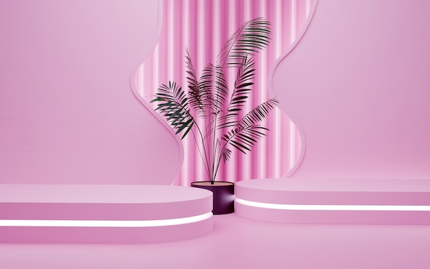 Luxury pink geometric background with a two-level neon light podium for product presentations. 3d rendering.