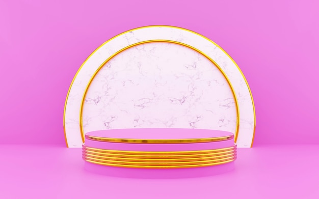 Luxury pink and gold round podium for product presentations. 3d rendering.  dark background.