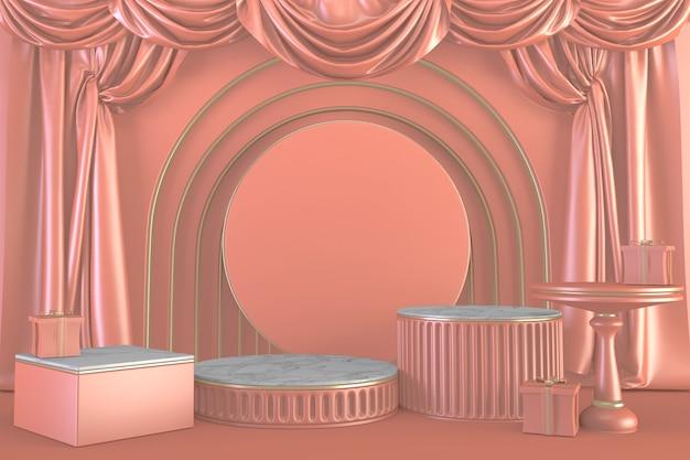 핑크 색상 배경에 럭셔리 핑크 연단 쇼. 렌더링