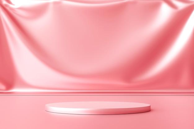 빈 배경으로 판촉 디스플레이에 럭셔리 핑크 제품 배경 스탠드 또는 연단 받침대. .