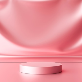 Luxury pink product background stand or podium pedestal on promotional display with blank backdrops. .