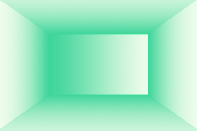 あなたのテキストと写真のためのスペースを持つ豪華な無地の緑のグラデーションの抽象的なスタジオの背景の空の部屋。