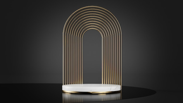 Luxury platform in white marble and golden shapes background 3d rendering