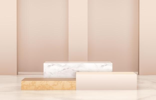제품 디스플레이 용 고급 연단. 미니멀리스트 골드, 대리석 및 화이트 색상. 3d 렌더링