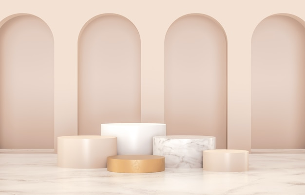 Luxury podium for product display. minimalist gold, marble and white colors. 3d render.