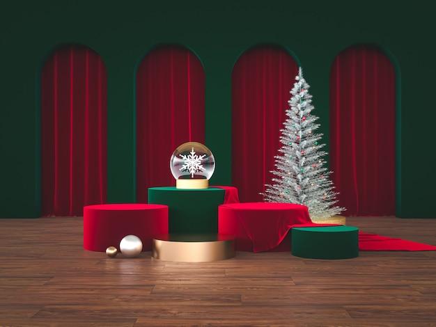 クリスマスをコンセプトにした豪華な表彰台