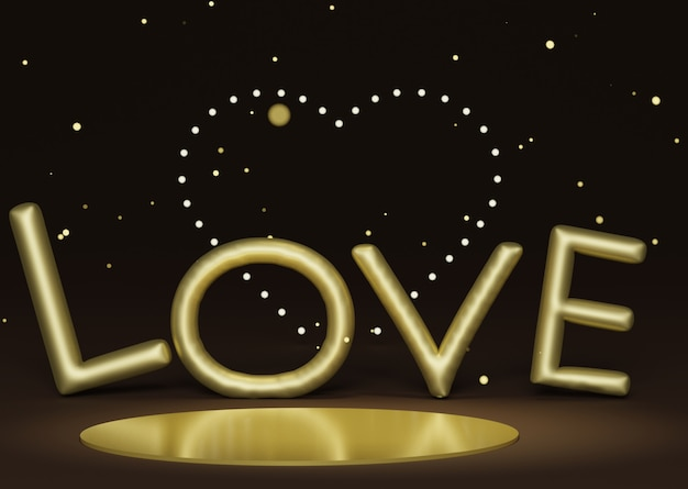 Luxury podium with decorate with heart flare bokeh light and golden love alphabets balloon .happy valentine's day. love celebration concept.