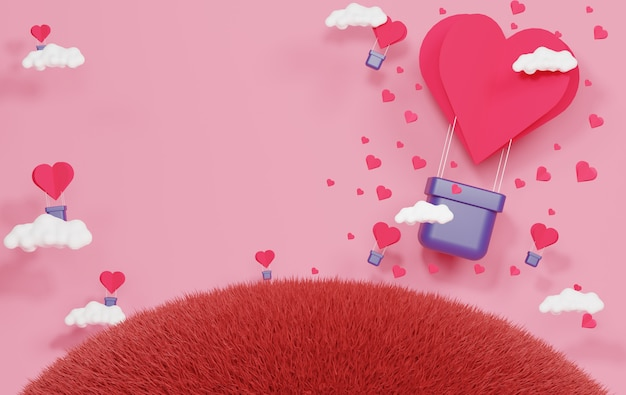 Luxury podium with paper heart floating in the blue sky and white cloud.pink gift box, pink balloon and heart on pastel background. happy valentine's day.