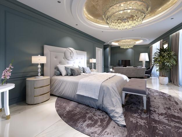 ベッドルームと大きなベッド、ソファとテレビ台付きのリビングルームを備えた豪華なプレジデンシャルスイート。 3dレンダリング