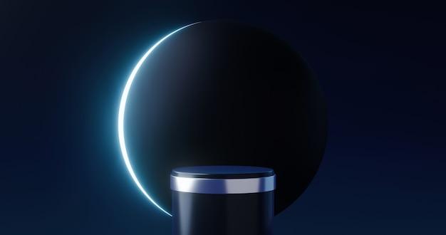 우주 달빛 디스플레이의 고급 제품 배경 무대와 검은 달 연단 받침대 배경. 3d 렌더링.