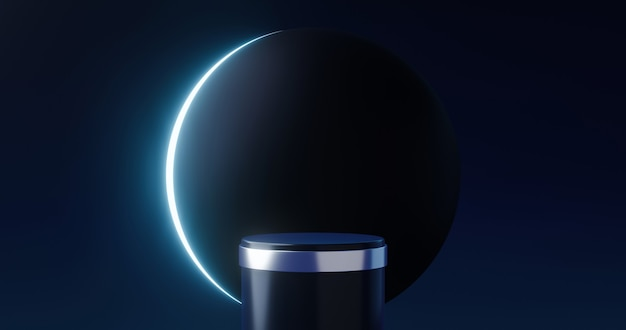 Luxury product background stage and black moon podium pedestal backdrops on universe moonlight display. 3d rendering.