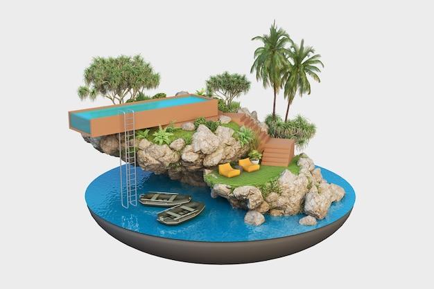 작은 섬의 고급 부동산, 여름 휴가