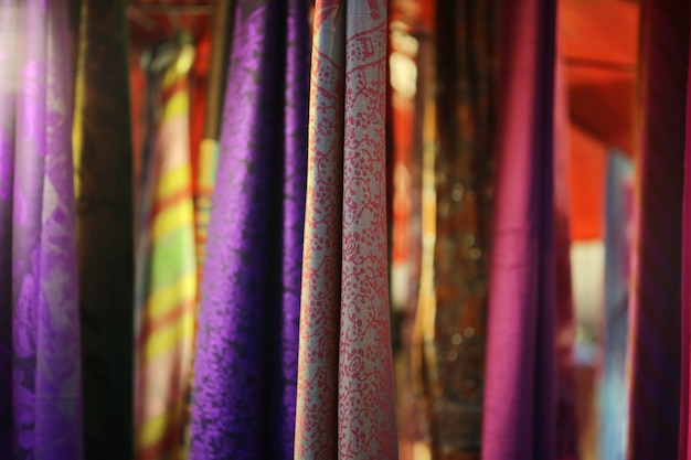 Luxury purple red gold colorful fabric hang