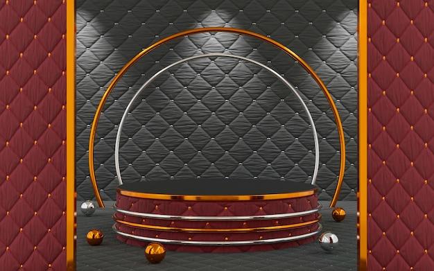 제품 프레젠테이션을 위한 1단계가 있는 고급 빨간색 및 검은색 패브릭 천 배경. 3d 렌더링.