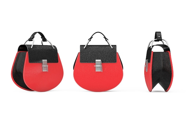 白い背景の上の豪華な赤い革の女性のバッグ。 3dレンダリング