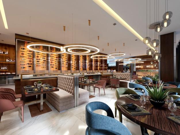 Роскошный ресторан в современном стиле с изысканной современной мебелью и дизайнерской листрой со скрытой подсветкой.